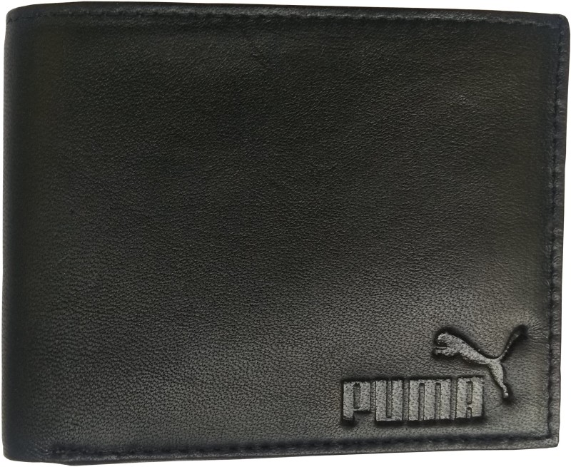 Puma Men Casual, Trendy Black Genuine Leather Wallet(3 Card Slots)