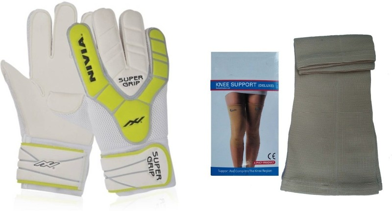 Nivia combo of two- one pair of Super grip Goalkeeping Gloves (size-large) and one Pair of Knee Supporter (Color on availability)- Football Kit