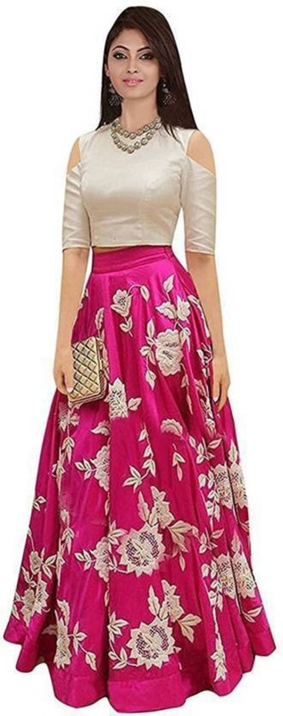Mahakal Tex Embroidered Semi Stitched Lehenga Choli(Pink)