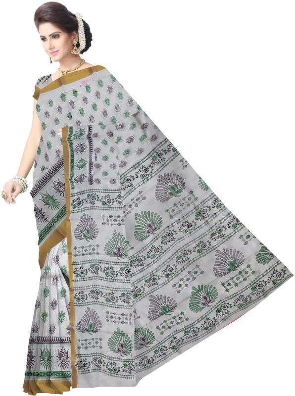 Javuli Printed Kerala Cotton Silk, Cotton Saree(White, Multicolor)