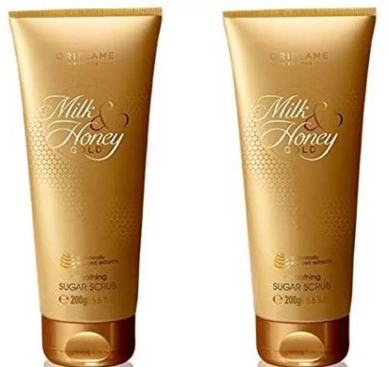 Oriflame Sweden Milk & Honey Gold Smoothing Sugar Scrub Pack OF 2 Scrub(400 g)