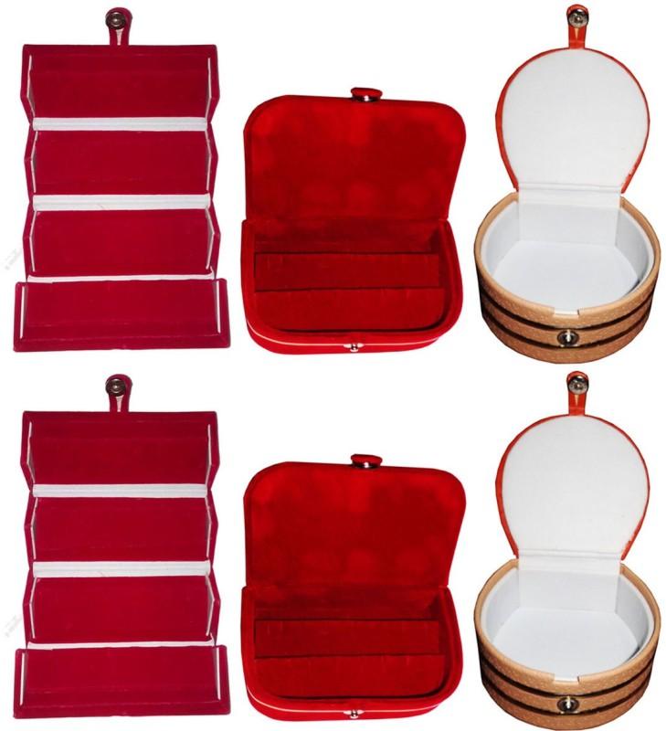 Sarohi Set of 6 velvet Vanity case Ring and Earring storage travelling Folder Box Vanity Box(Multicolor)