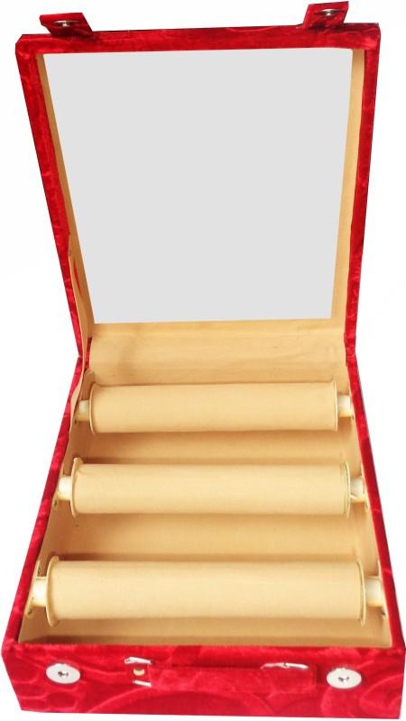 Afrose 3 Roll Rod Wodden Velvet Bangles Box With Clear Plastic Box Vanity Box(Maroon)