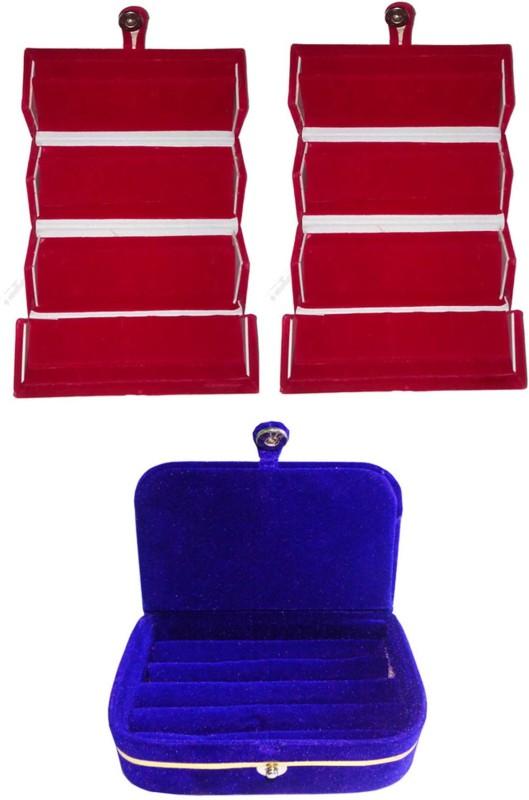 Sarohi Set of 3 velvet Vanity case Ring and Earring storage travelling Folder Box Vanity Box(Multicolor)