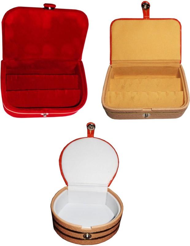 Sarohi Combo of 3 velvet Vanity case Ring and Earring storage travelling Folder Box Vanity Box(Multicolor)