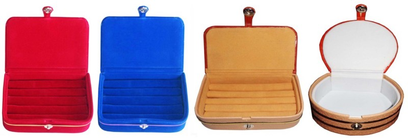 Sarohi Combo of 4 velvet Vanity case Ring and Earring storage travelling Folder Box Vanity Box(Multicolor)