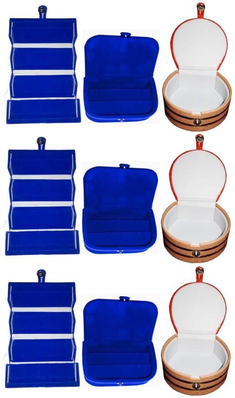 Sarohi Combo of 9 velvet Vanity case Ring and Earring storage travelling Folder Box Vanity Box(Multicolor)