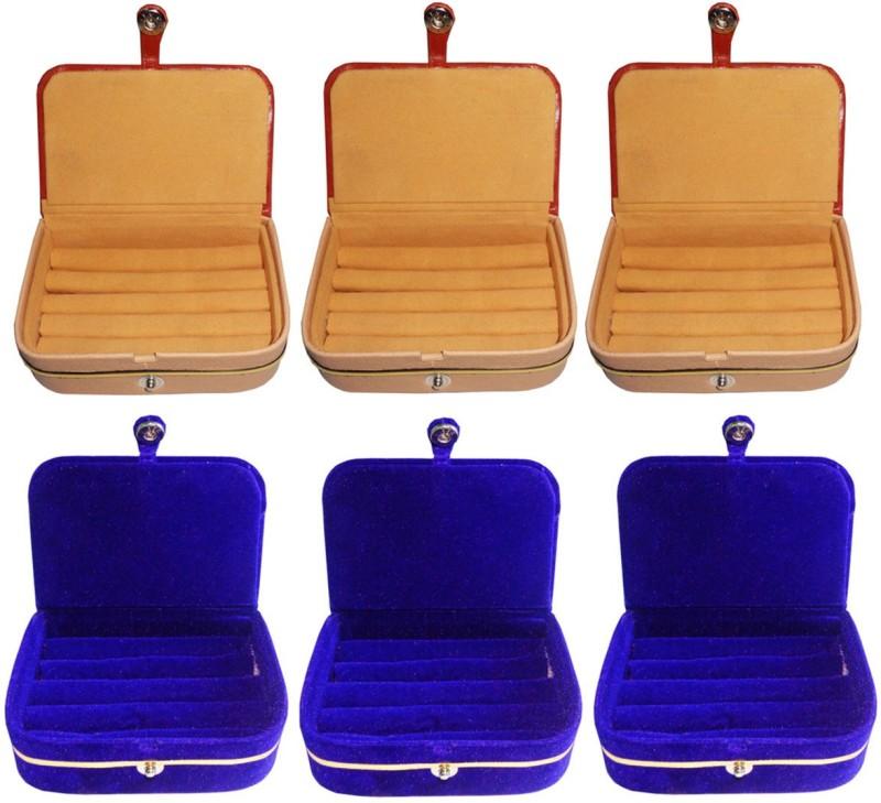 Sarohi Combo of 6 velvet Vanity case Ring and Earring storage travelling Folder Box Vanity Box(Multicolor)