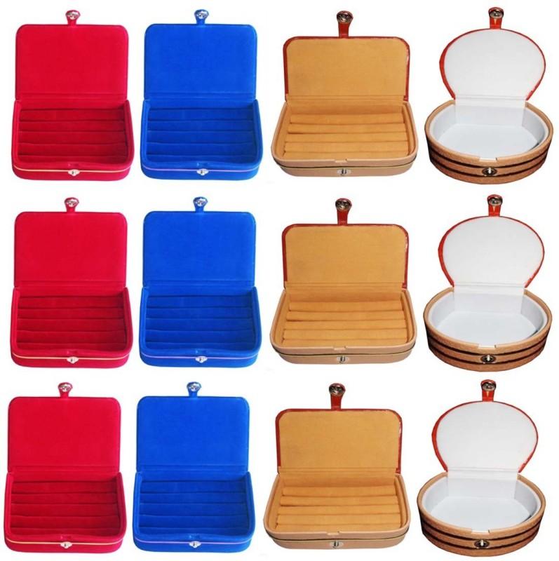Sarohi Combo of 12 velvet Vanity case Ring and Earring storage travelling Folder Box Vanity Box(Multicolor)