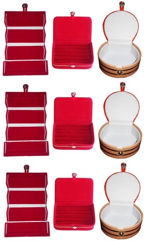 Sarohi Set of 9 velvet Vanity case Ring and Earring storage travelling Folder Box Vanity Box(Multicolor)