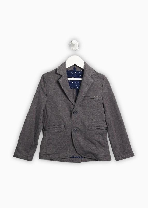 Gini & Jony Solid Single Breasted Casual Boys Blazer(Grey)