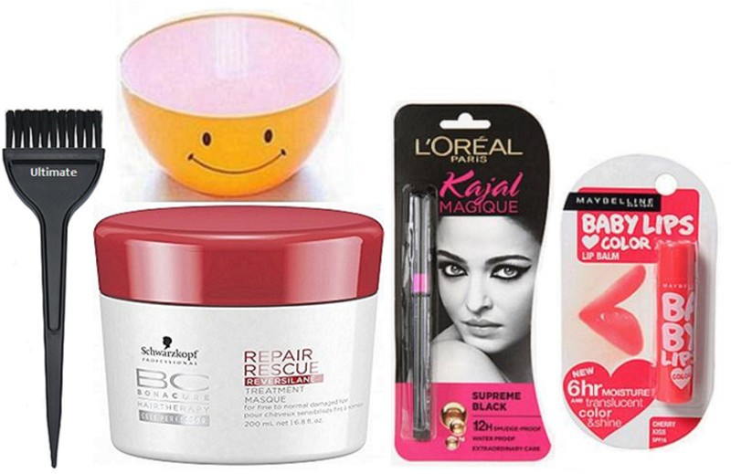 Ultimate Hair Brush, Professional BC Repair Rescue Reversilane Hair Masque 200 ml With Single Bowl & Lakme Magique Kajal & Cherry Kiss Lip Balm(5 Items in the set)
