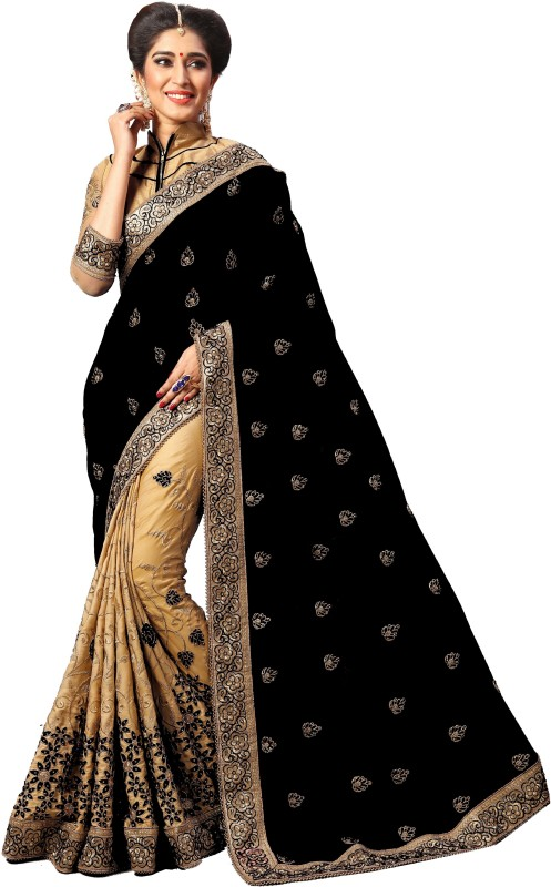 Pragati Fashion Hub Embroidered Fashion Silk Saree(Black)