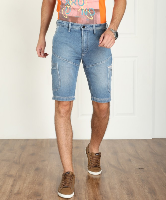 Lee Solid Mens Blue Denim Shorts