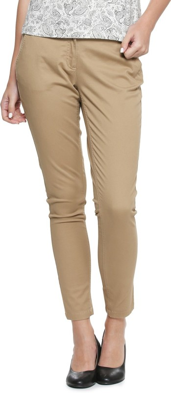 Allen Solly Regular Fit Womens Beige Trousers