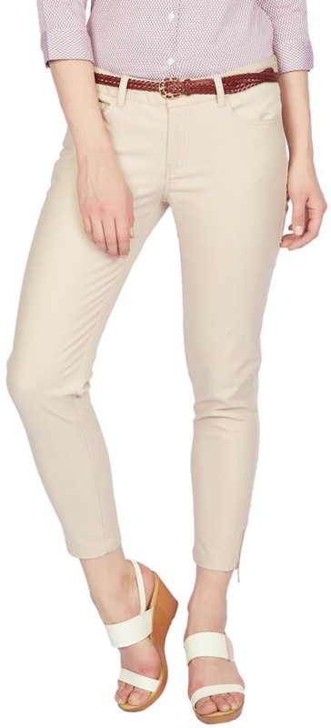 Allen Solly Skinny Fit Women Cream Trousers