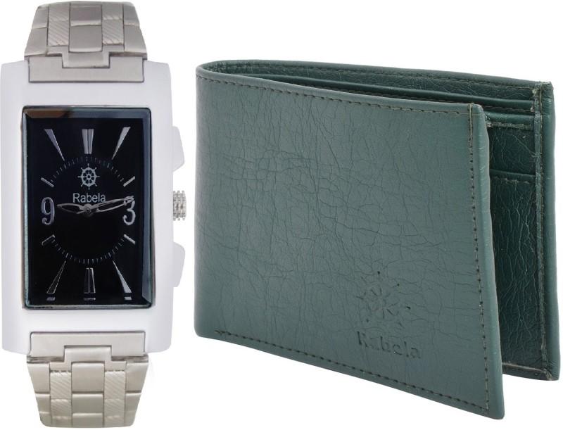 Rabela Wallet, Analog Watch Combo(Black, Grey)