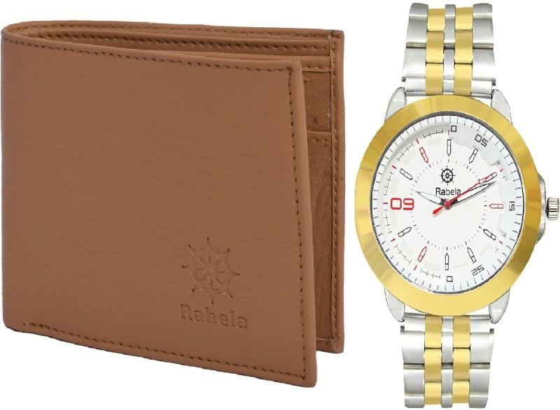 Rabela Wallet, Analog Watch Combo(White, Tan)