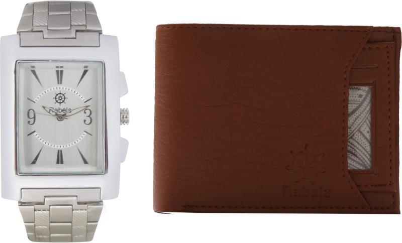 Rabela Wallet, Analog Watch Combo(White, Brown)