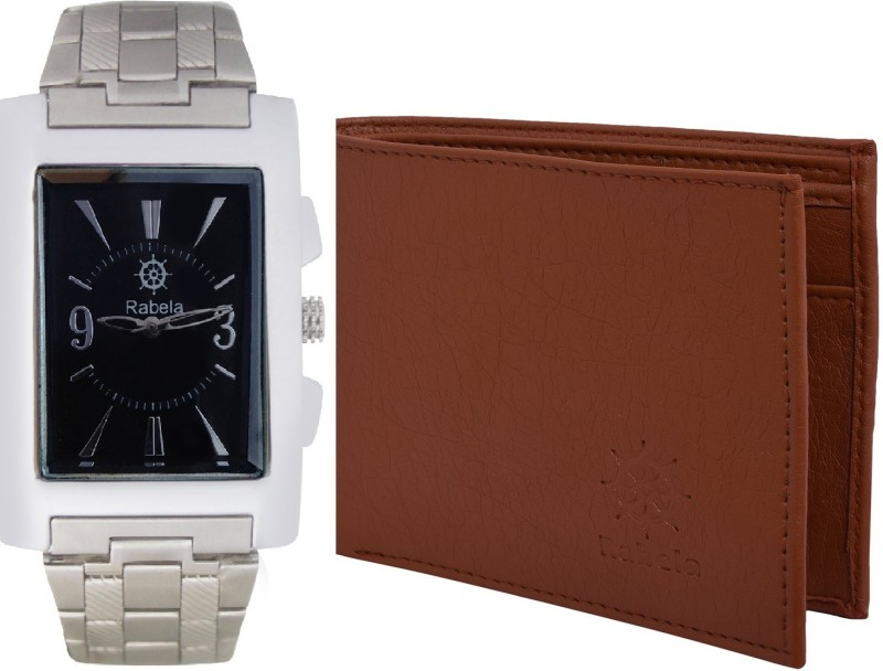 Rabela Wallet, Analog Watch Combo(Black, Brown)