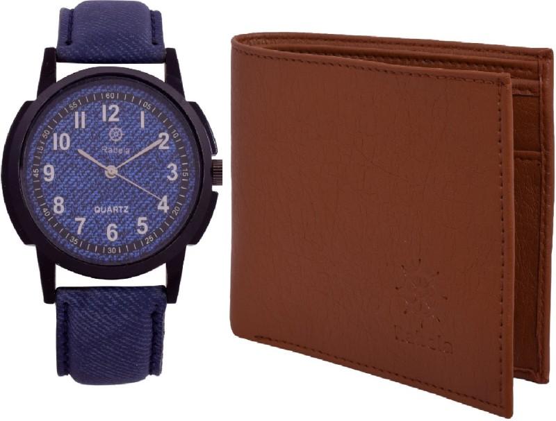 Rabela Wallet, Analog Watch Combo(Blue, Brown)
