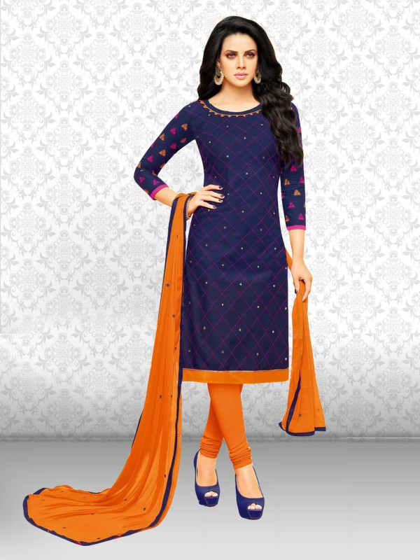 Divastri Cotton Embroidered Salwar Suit Dupatta Material(Un-stitched)