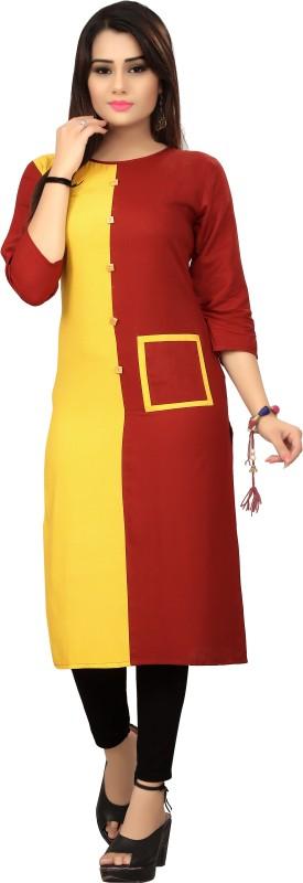 ACOUSTIVE Casual Solid Women Kurti(Yellow)