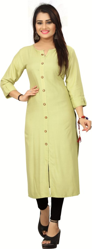 ACOUSTIVE Casual Solid Women Kurti(Yellow)