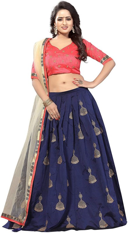YEOJA CREATION Embroidered Semi Stitched Lehenga Choli(Dark Blue)