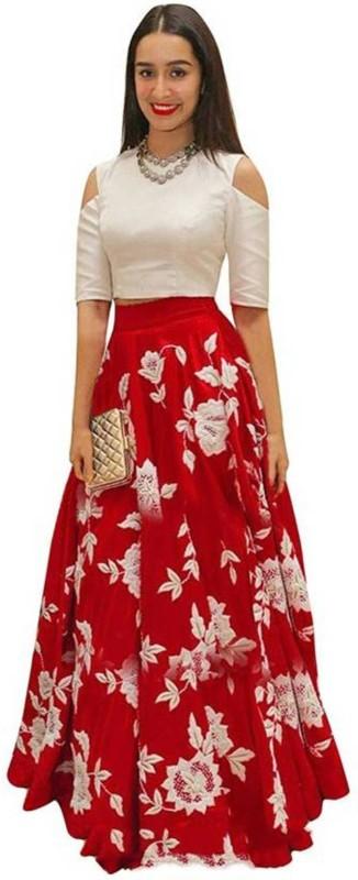 Mahakal Tex Embroidered Semi Stitched Lehenga Choli(Red)