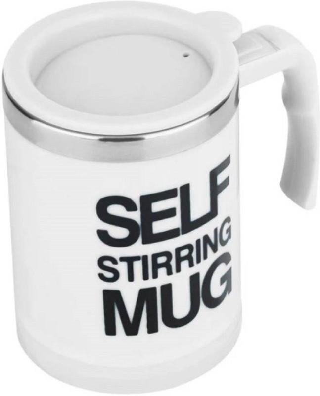 megashine Self Stirring Coffee Cup Smart Stainless Steels Copos Inox Tea Cup White Stainless Steel (390 ml) multicolor Stainless Steel Mug(390 ml)
