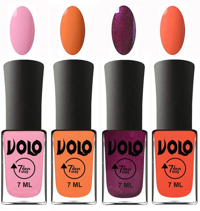 Volo Ultra Lasting HD Shine Awesome Nail Polish Combo Peach, Neon Orange, Wine, Light Pink(Pack of 4)