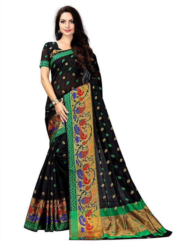 73c68b8c913d09 Greenvilla Designs Printed Bollywood Polycotton Saree(Black)