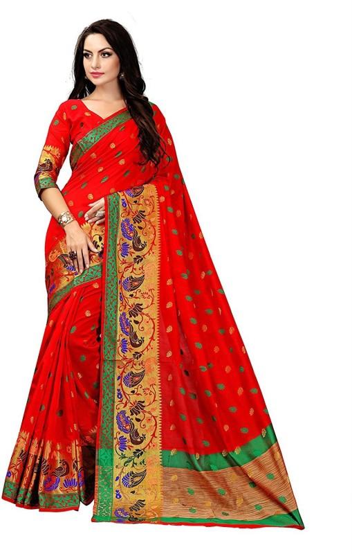 8b7fa391f6bf13 Greenvilla Designs Printed Bollywood Polycotton Saree(Red)