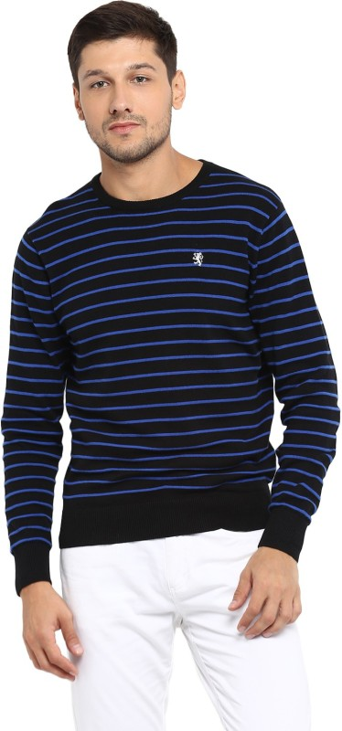 Red Tape Striped Round Neck Casual Men's Black Sweater