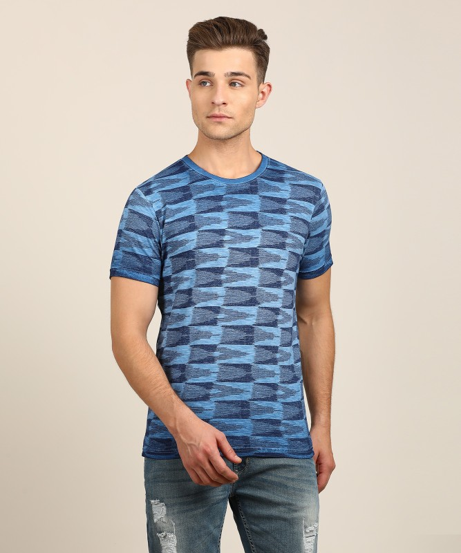 Pepe Jeans Abstract Men's Round Neck Blue T-Shirt