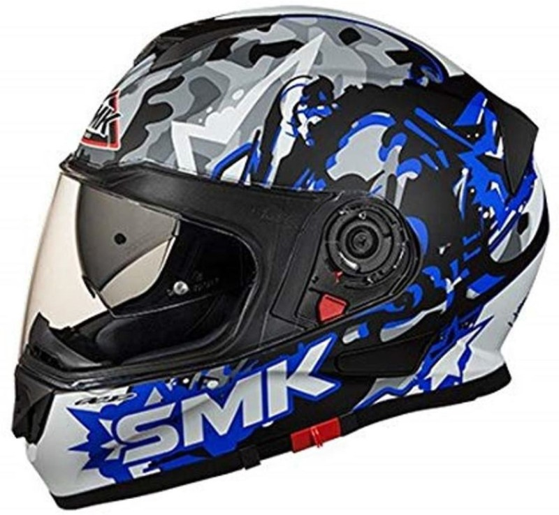 smk MA256 Twister Attack Graphics Pinlock Fitted Full Face Helmet With Clear Visor (Matt Black, Blue and Grey Motorbike Helmet(Multicolor)