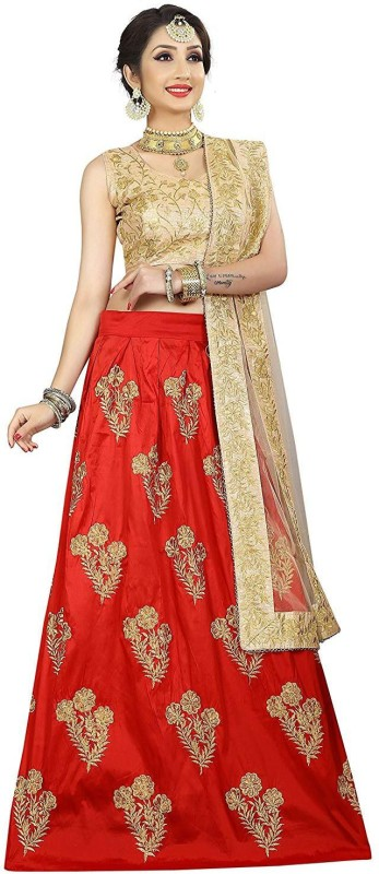 YEOJA CREATION Embroidered Semi Stitched Lehenga Choli(Red)