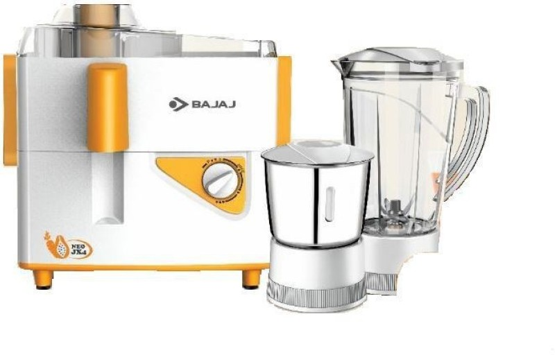 Bajaj Neo JX4 450 W Juicer Mixer Grinder(White, Orange, 2 Jars)