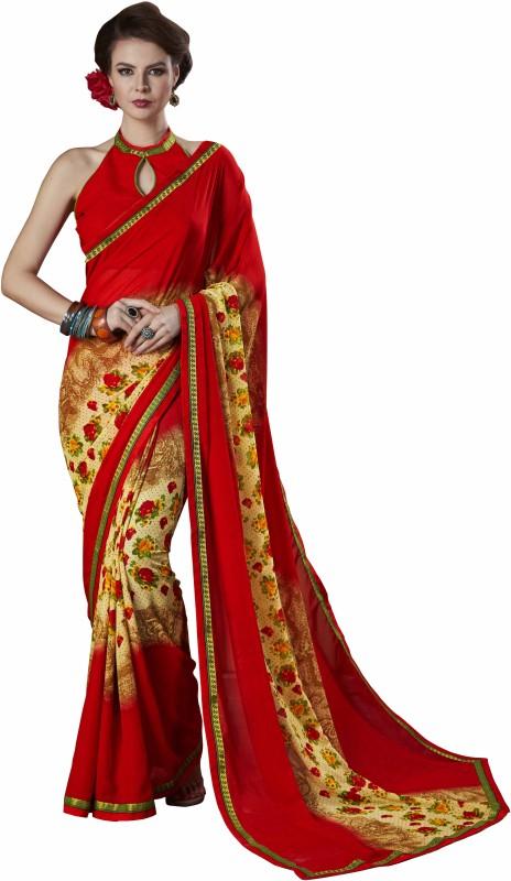BAPS Printed Bollywood Georgette Saree(Beige)