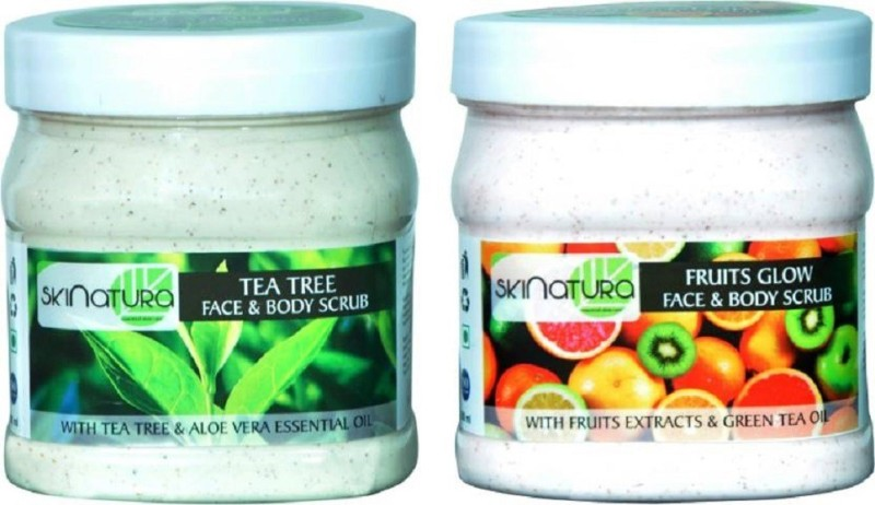 Skinatura Tea Tree + Fruits Glow Face & Body Scrub (Combo of 2) Scrub(500 ml)