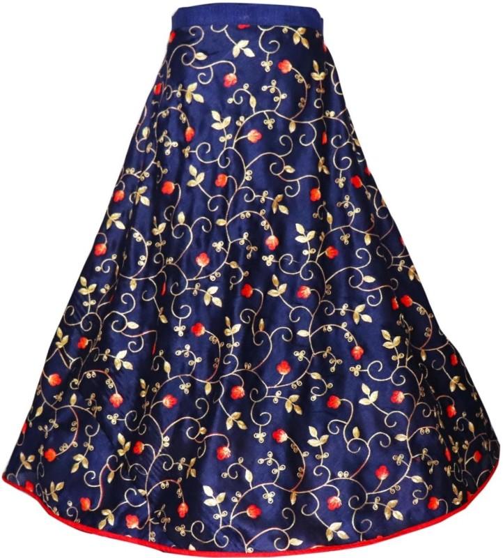 Fabcartz Embroidered Women Flared Dark Blue Skirt