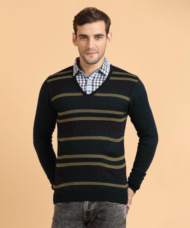 Peter England Self Design V-neck Casual Mens Blue Sweater