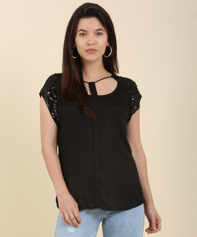Arrow Casual Shoulder Strap Solid Womens Black Top
