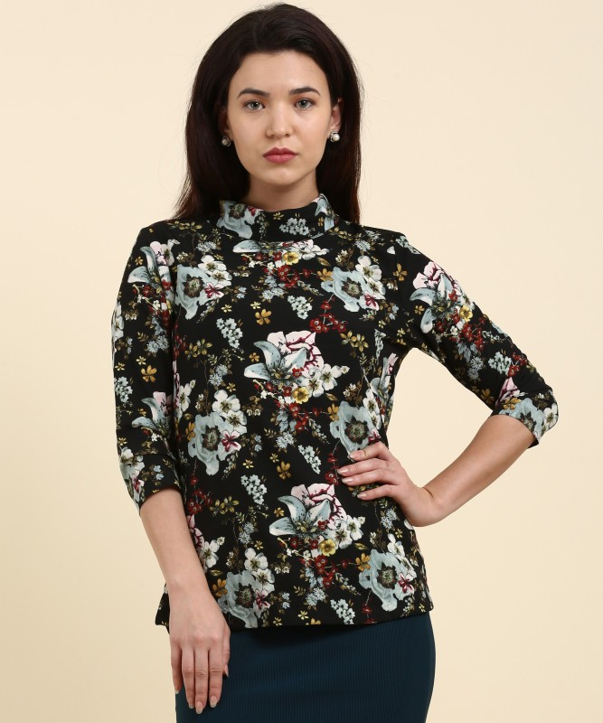 Arrow Casual 3/4th Sleeve Printed Womens Black Top