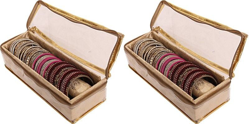 kuber industries Brocade Rod Bangle Box, Golden Set of 2 Pcs Jewellery bangle box Vanity Box(Gold)