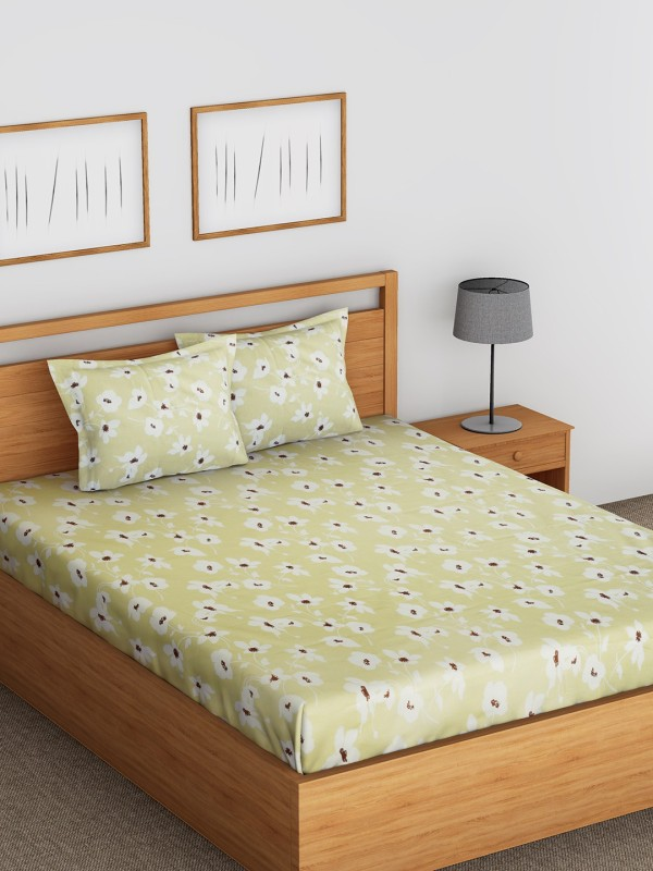 Raymond Home 104 TC Cotton Double Floral Bedsheet(Pack of 1, Beige)