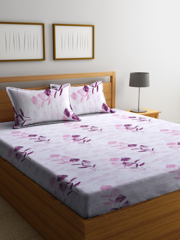 Raymond Home 104 TC Cotton Double Floral Bedsheet(Pack of 1, Lilac)