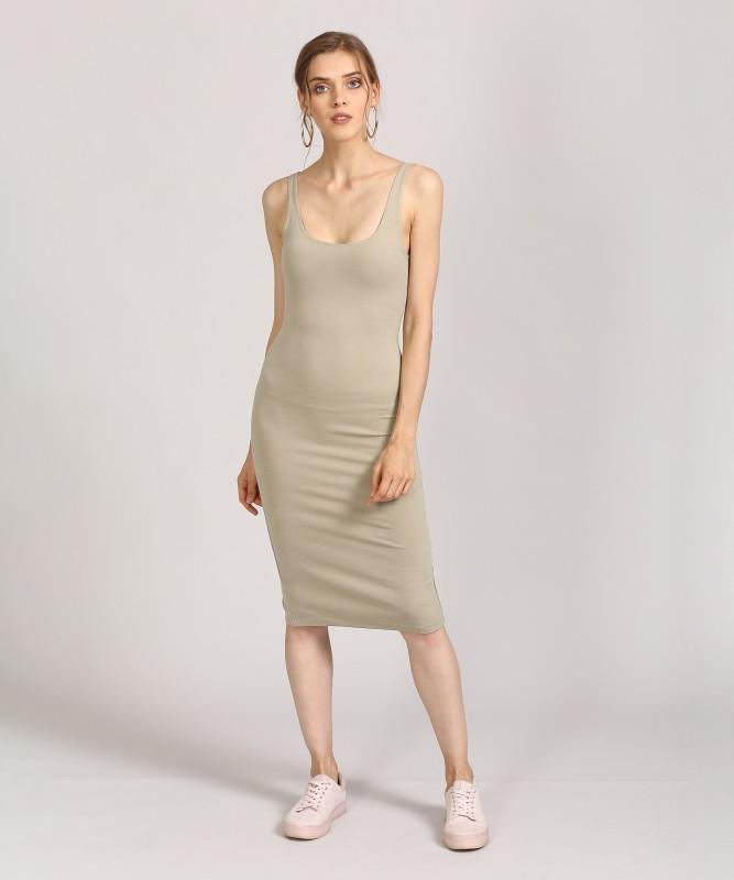 Forever 21 Womens Bodycon Beige Dress