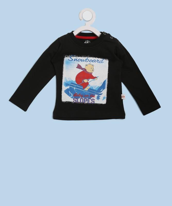 612 League Boys Printed Cotton T Shirt(Black, Pack of 1)